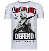 Local Fanatic Loyalty Marilyn - Rhinestone T-shirt - Wit