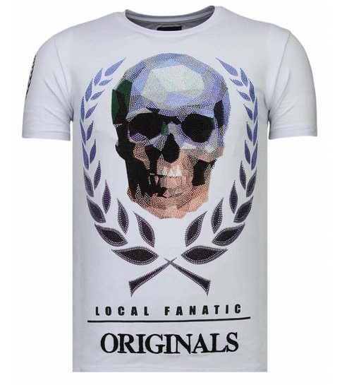Local Fanatic Skull Originals - Rhinestone T-shirt - Wit
