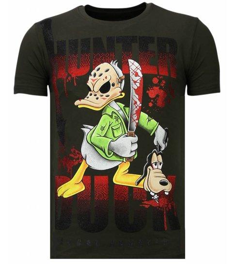 Local Fanatic Hunter Duck - Rhinestone T-shirt - Khaki