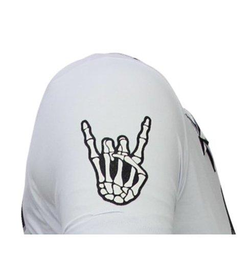 Local Fanatic Hellboy - Rhinestone T-shirt - Wit