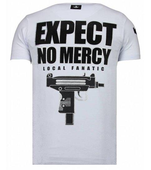 Local Fanatic Terror Panda - Rhinestone T-shirt - Wit