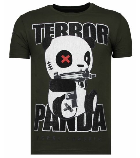 Local Fanatic Terror Panda - Rhinestone T-shirt - Khaki
