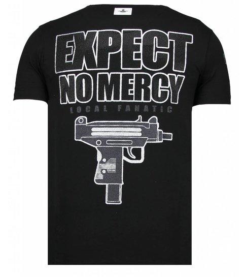 Local Fanatic Terror Panda - Rhinestone T-shirt - Zwart