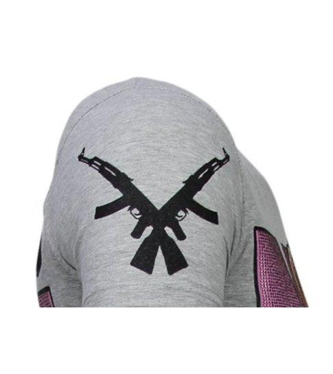 Local Fanatic Milf Hunter - Rhinestone T-shirt - Grijs