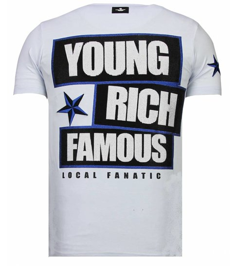 Local Fanatic Young Rich Famous - Rhinestone T-shirt - Wit
