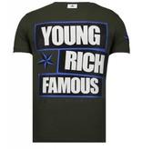 Local Fanatic Young Rich Famous - Rhinestone T-shirt - Khaki