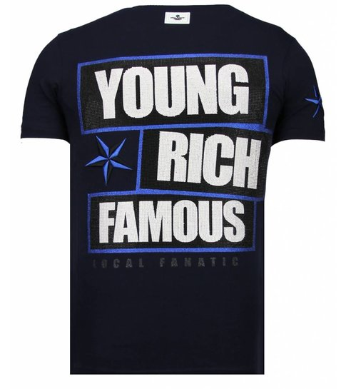 Local Fanatic Young Rich Famous - Rhinestone T-shirt - Navy