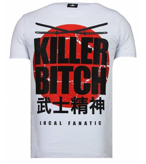 Local Fanatic Killer Bitch - Rhinestone T-shirt - Wit