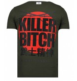 Local Fanatic Killer Bitch - Rhinestone T-shirt - Khaki