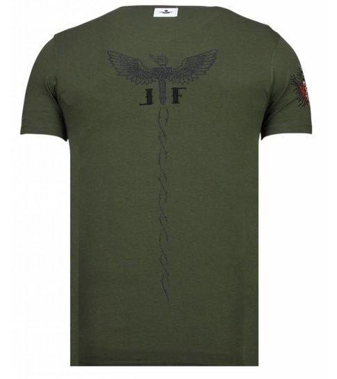 Local Fanatic McGregor Tattoo - Rhinestone T-shirt - Khaki
