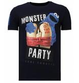 Local Fanatic Monster Party - Rhinestone T-shirt - Navy