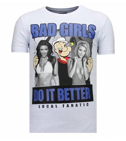 Local Fanatic Bad Girls Do It Better - Rhinestone T-shirt - Wit