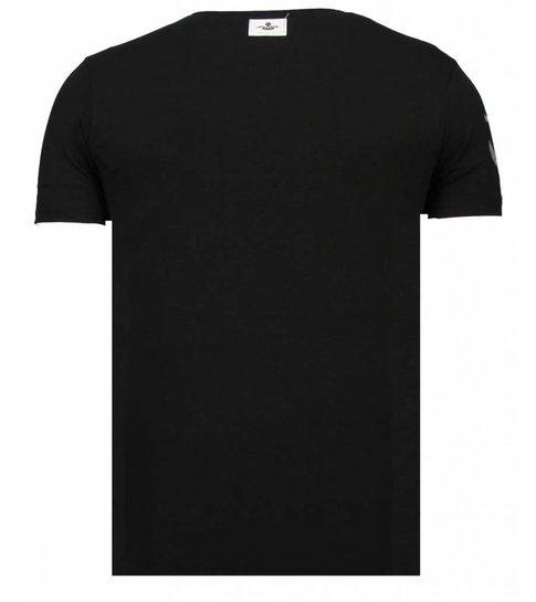 Local Fanatic Iron Man Popeye - Rhinestone T-shirt - Zwart