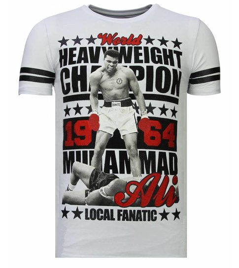 Local Fanatic Greatest Of All Time - Rhinestone T-shirt - Wit