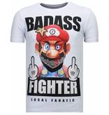 Local Fanatic Fight Club Mario - Rhinestone T-shirt - Wit