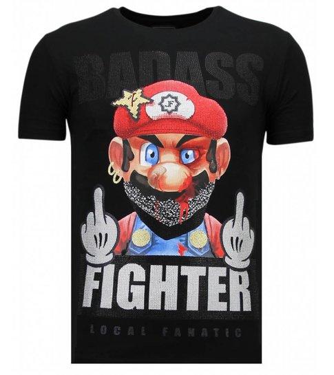 Local Fanatic Fight Club Mario - Rhinestone T-shirt - Zwart