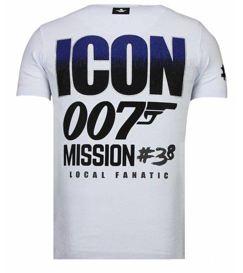 Local Fanatic Like A Boss - Rhinestone T-shirt - Wit