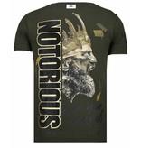 Local Fanatic Notorious King - Conor McGregor Rhinestone T-shirt - Khaki