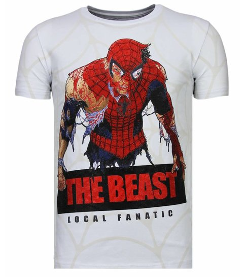 Local Fanatic The Beast Spider - Rhinestone T-shirt - Wit