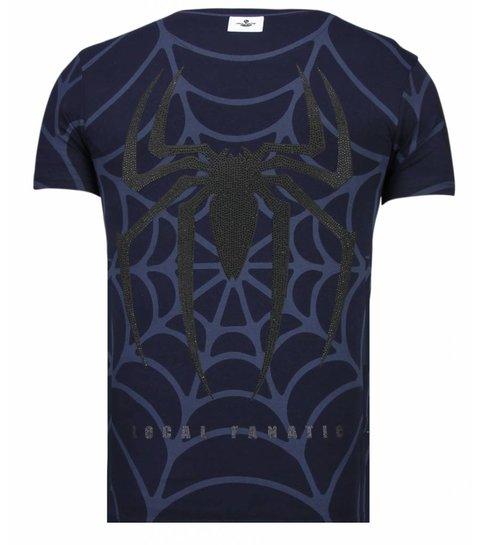 Local Fanatic The Beast Spider - Rhinestone T-shirt - Navy