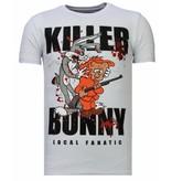 Local Fanatic Killer Bunny - Rhinestone T-shirt - Wit