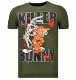 Local Fanatic Killer Bunny - Rhinestone T-shirt - Khaki