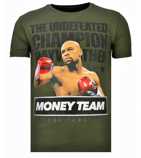 Local Fanatic Money Team Champ - Rhinestone T-shirt - Khaki