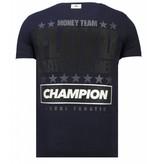 Local Fanatic Money Team Champ - Rhinestone T-shirt - Navy