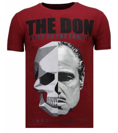 Local Fanatic The Don Skull - Rhinestone T-shirt - Bordeaux