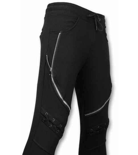 Enos Casual Joggingbroek - Biker Braided - Zwart