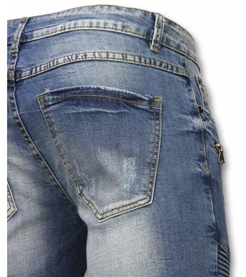 Enos Korte Broek Heren - Korte Broek Slim Fit Biker Zippers Shorts - Blauw