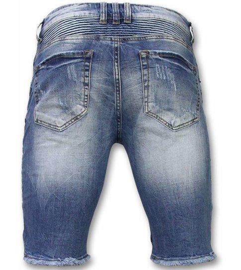 Enos Korte Broeken Heren - Slim Fit Ripped Biker Shorts - Blauw