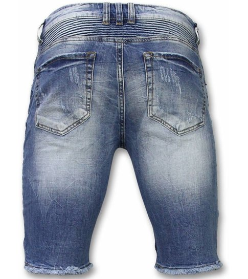 Korte Broeken Heren Slim Fit Ripped Biker Shorts Blauw