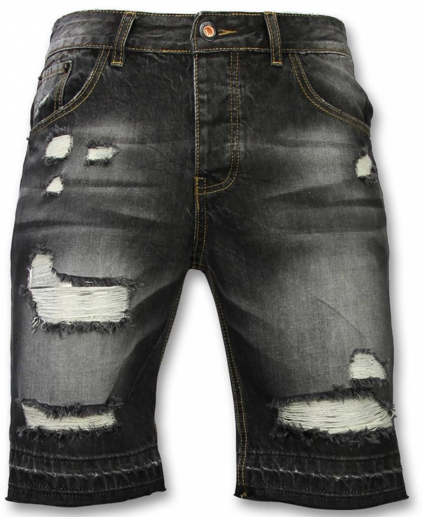 Korte Broeken Heren Slim Fit Ripped Shorts Zwart