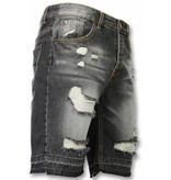 Enos Korte Broeken Heren - Slim Fit Ripped Shorts - Zwart