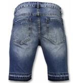 Enos Korte Broeken Heren - Slim Fit Ripped Shorts - Blauw