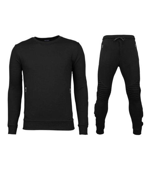 Enos Trainingspakken Basic - Buttons Joggingpak - Zwart