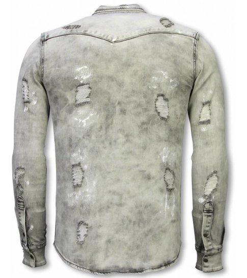 TRUE RISE Denim Shirt - Slim Fit Damaged Allover - Grijs