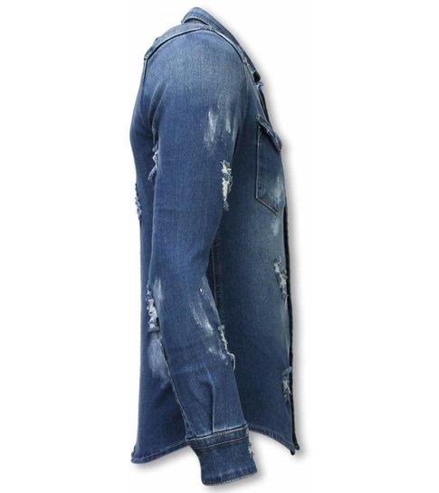 TRUE RISE Denim Shirt - Slim Fit Damaged Allover - Blauw