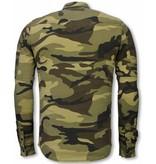 TRUE RISE Biker Denim Shirt - Slim Fit Ribbel Camouflage - Groen