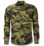 Diele & Co Biker Denim Shirt - Slim Fit Ribbel Camouflage - Groen