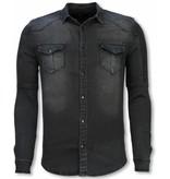 TRUE RISE Biker Denim Shirt - Slim Fit Ribbel Stonewashed - Grijs/Blauw