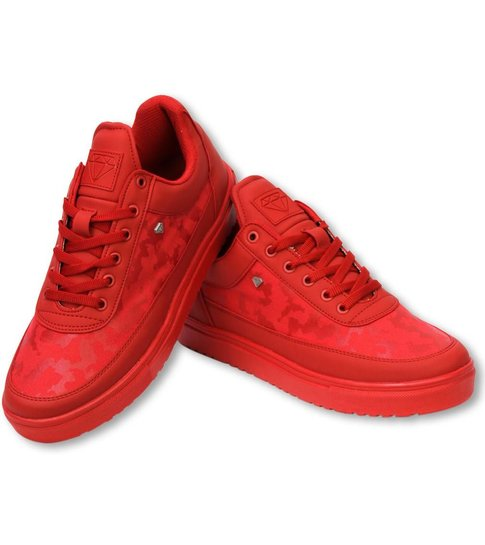 Cash Money Heren Schoenen - Heren Sneaker Low Camouflage Side -  Case Army Full Red