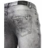 TRUE RISE Exclusieve Jeans - Slim Fit Damaged Premium Jeans - Grijs