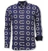 Gentile Bellini Italiaanse Overhemden - Slim Fit Overhemd - Blouse Block Pattern - Blauw