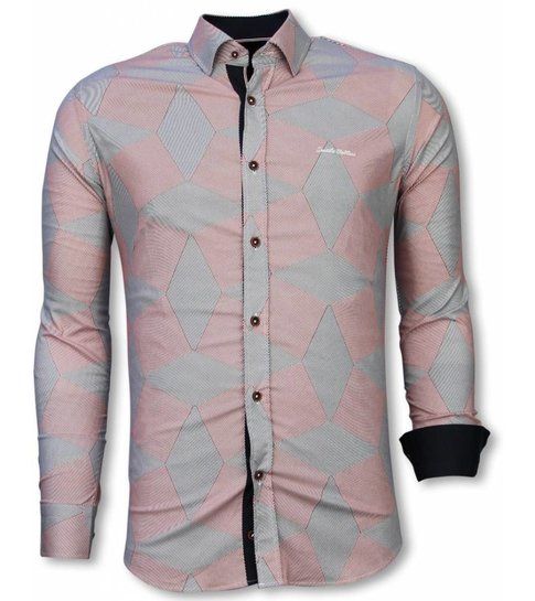 TONY BACKER Italiaanse Overhemden - Slim Fit Overhemd - Blouse Line Pattern - Rood