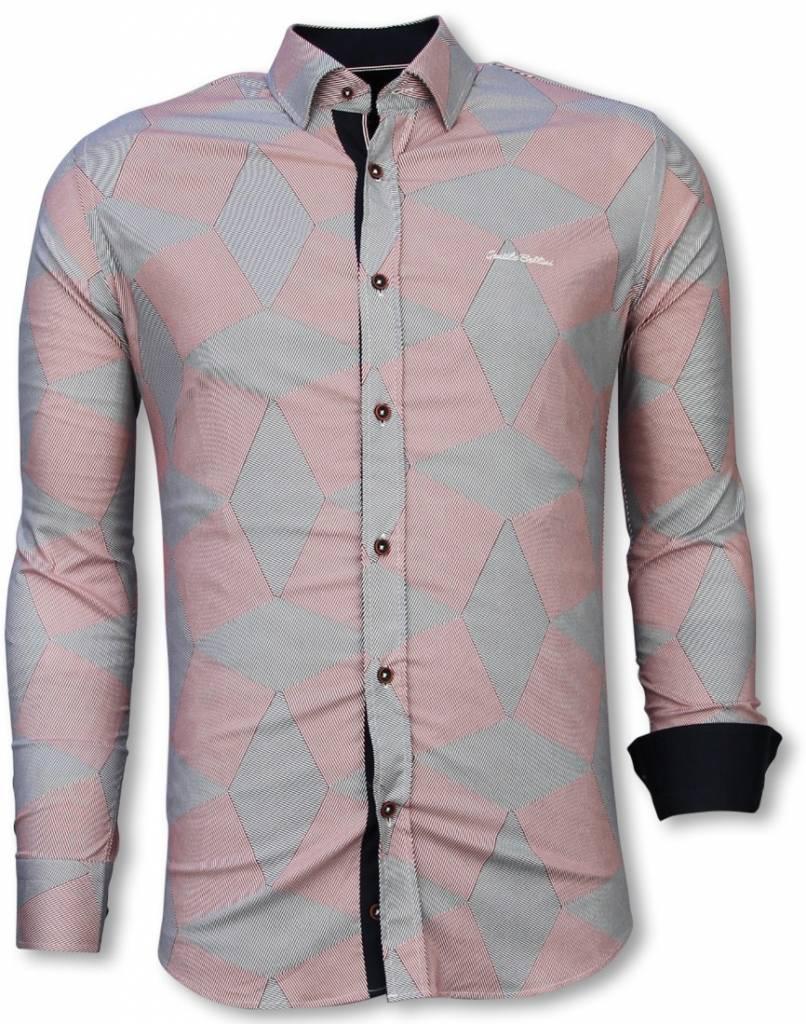 Rood Overhemd Slim Fit.Italiaanse Overhemden Slim Fit Overhemd Blouse Line Pattern