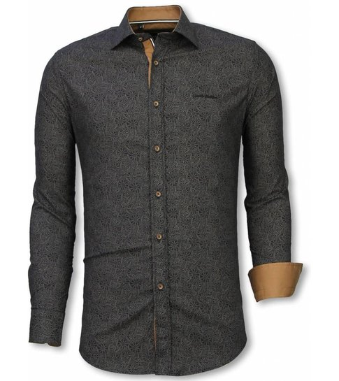 TONY BACKER Italiaanse Overhemden - Slim Fit Overhemd - Blouse Lotus Pattern - Zwart