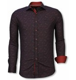 Gentile Bellini Italiaanse Overhemden - Slim Fit Overhemd - Blouse Yang Pattern - Bordeaux