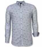 Gentile Bellini Italiaanse Overhemden - Slim Fit Overhemd - Blouse Fishbone Pattern - Licht Blauw